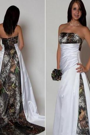 Strapless Plant Printed Satin Wedding Dress Strapless Beaded Women Bridal Gowns