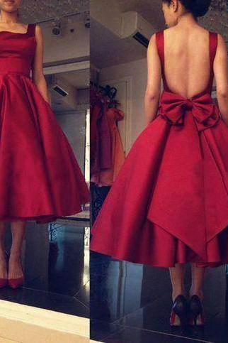 Mid-calf Square Neck Open Back Red Satin Prom Dress Big Bow Tie
