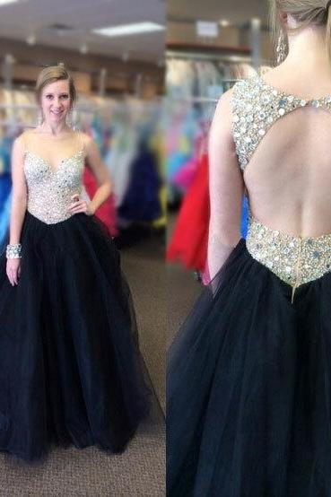 Open Back A-line Tulle Prom Dress Scoop Neck Beaded Floor Length Women Dress