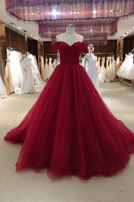 Off the Shoulder A-line Tulle Prom Dress Floor Length Women Dress