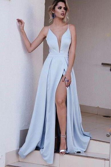 Deep V Neck Satin Prom Dress Spaghetti Straps Women Dress