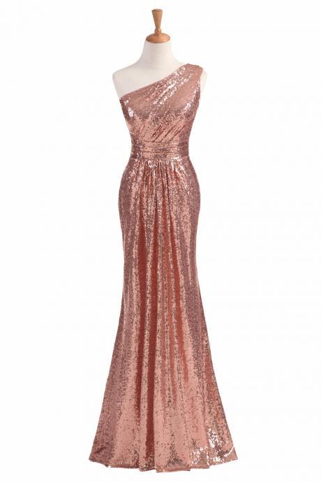 Sheath Sequin Bridesmaid Dress One Shoulder Zipper Back