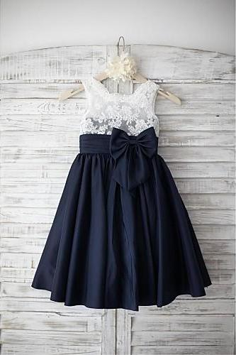 Navy Blue Satin Lace Flower Girl Dress