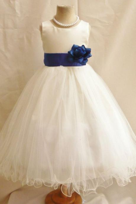 White Tulle Flower Girl Dress with Satin Belt