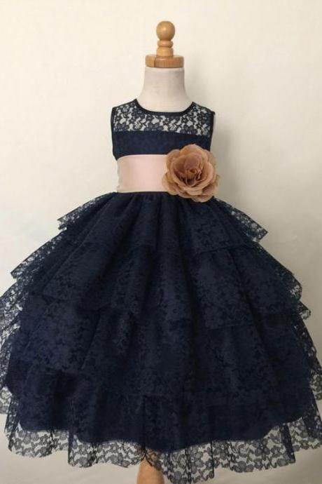 Black 3 layers Lace Flower Girl Dress with Satin Belt