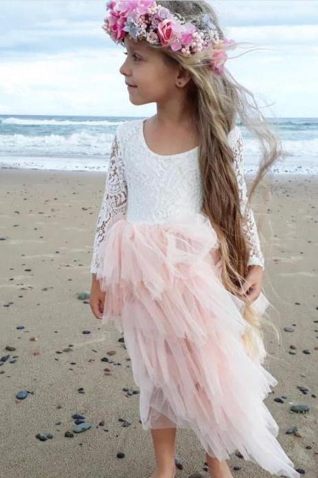 Lovely Short Pink Tulle Flower Girl Dresses