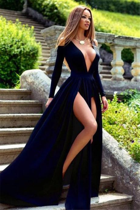 Long Sleeves Prom Dress, V Neck Women Dress, Slit Long Women Evening Gowns