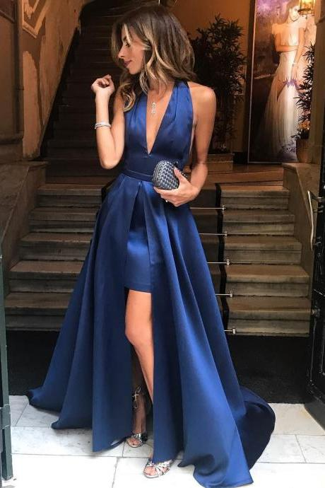 V Neck Long Dark Blue Satin Prom Dress Slit Women Party Dress 2019