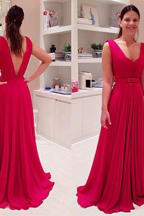 Open back Prom Dress, Long Chiffon Prom Dress, Red Prom Dress, Scoop Neck Prom Dress,Floor Length Women Dress