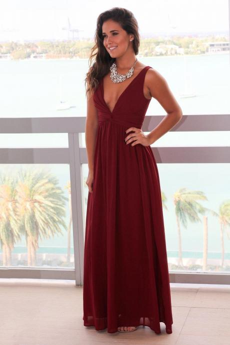Women's Long Burgundy Chiffon Evening Dress Floor Length Women Prom Dress 2019