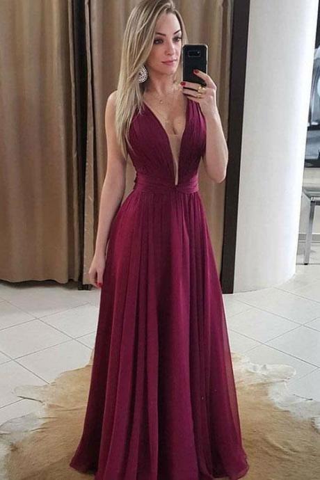 Deep V Neck Long Chiffon Evening Dress Spaghetti Straps Pleated Women Prom Dress 2019