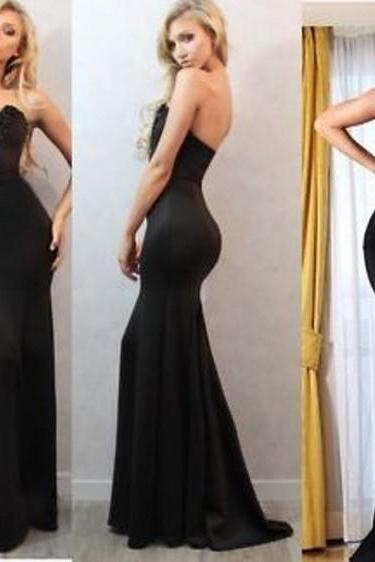 Strapless Mermaid Black Satin Long Prom Dress Lace Appliques
