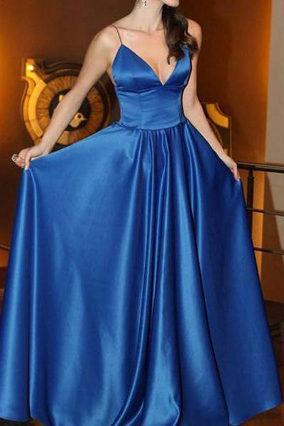 Spaghetti Straps a-line Long Satin Prom Dress Floor Length Blue Party Dress