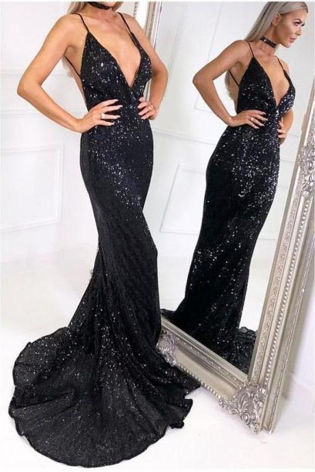 Deep V Neck Mermaid Long Black Sequin Lace Prom Dress Spaghetti Straps