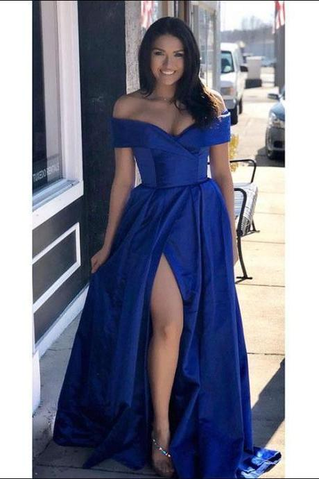 Royal Blue A-line Long Satin Prom Dress, Off the Shoulder Women Evening Gowns, High Slit Women Dress