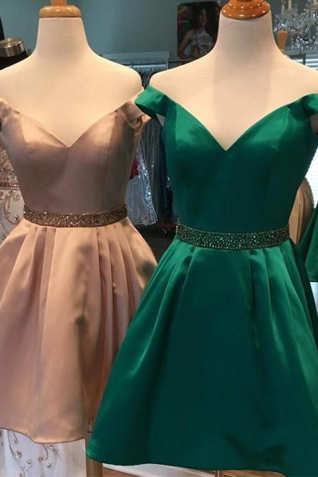 Off the Shoulder Homecoming Dress, Short Satin Homecoming Dress, Beaded Prom Dress, Above Knee Party Dress