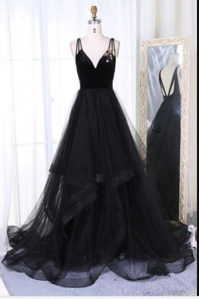 Spaghetti Straps A-line Black Tulle Prom Dress Black Evening Dress 2019