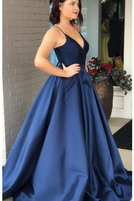 V Neck A-line Blue Satin Prom Dress Floor Length Women Evening Gowns Spaghetti Straps