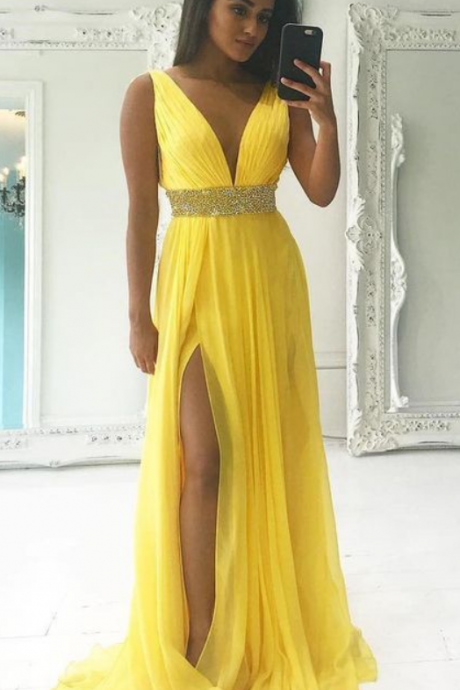 Deep V Neck Long yellow Chiffon Prom Dress, Pleated Women Evening Dress, Yellow Evening Dress, Beaded Prom Dress