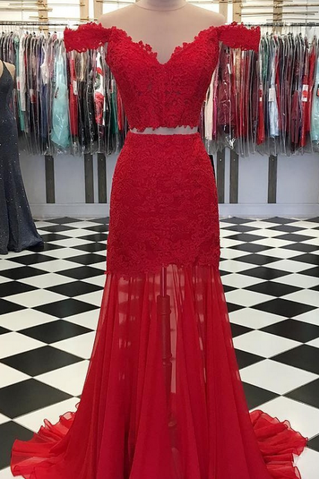 Off the Shoulder Long Red Chiffon Prom Dress 2 Pieces Lace Appliques Women Evening Dress 2019