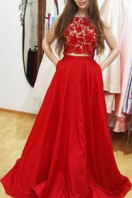 2 Pieces A-line Red Satin Prom Dress , Lace Appliques Women Evening Dress 2019