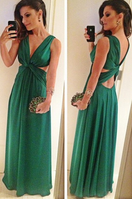 Long Green V Neck A-line Long Chiffon Prom Dress Pleated Women Evening Dress 2019