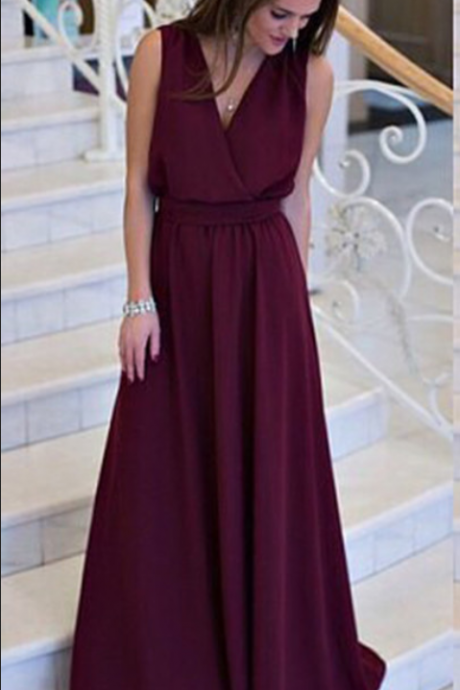 V Neck Long Chiffon Prom Dress Floor Length Women Evening Dress 2019