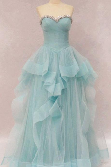 Sweetheart Neck A-line Long Tulle Prom Dress Pleated Beaded Women Evening Dress