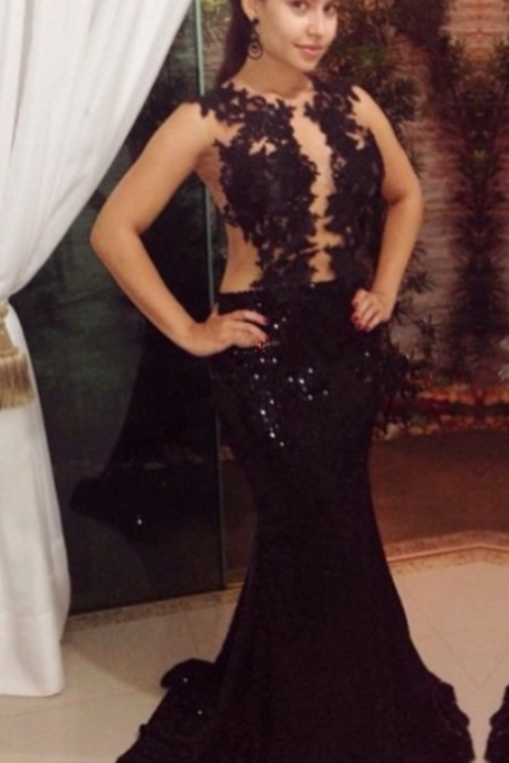 Sleeveless Mermaid Long Black Sequin Women Prom Dress Lace Appliques Women Evening Dress