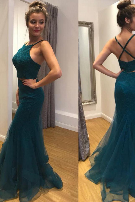 Sexy Mermaid Tulle Prom Dress Spaghetti Straps Long Women Evening Dress 2019