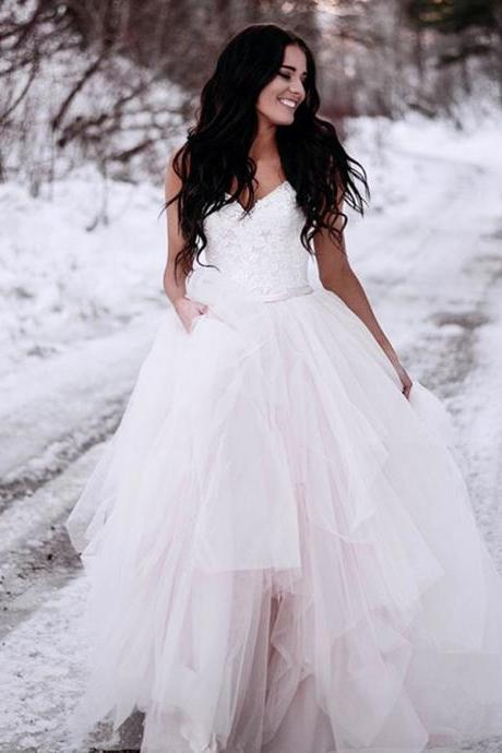 Spaghetti Straps A-line Long Tulle Wedding Dress Lace Appliques Women Bridal Gowns