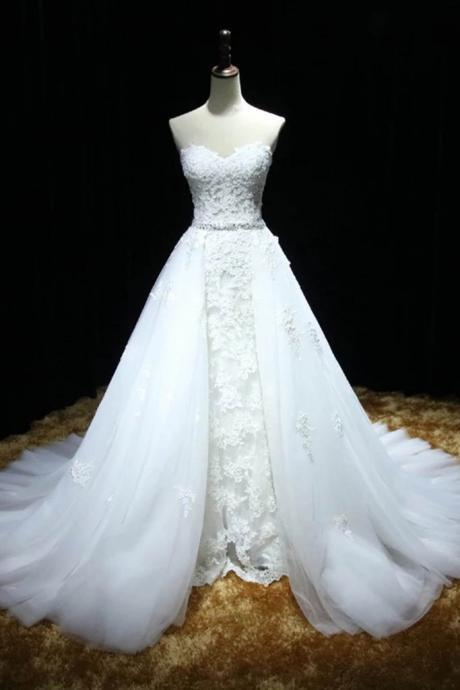 Strapless A-line White Tulle Wedding Dress, Lace Appliques Women Bridal Gowns