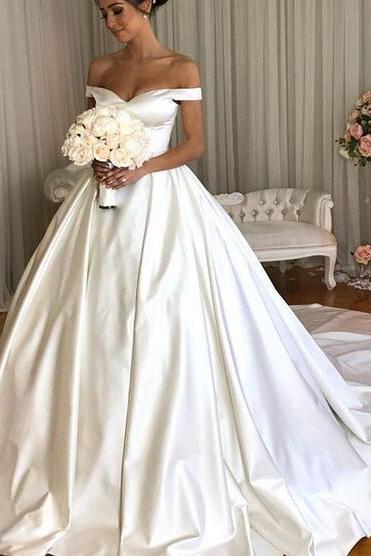 Off the Shoulder Ball Gown Ivroy Wedding Dress, Gorgeous Women SAtin Bridal Gowns