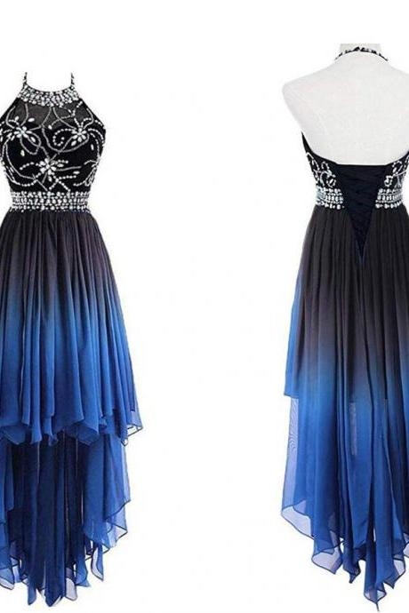 Halter Neck Gradient Chiffon Prom Dress Beaded Women Evening Dress 2019