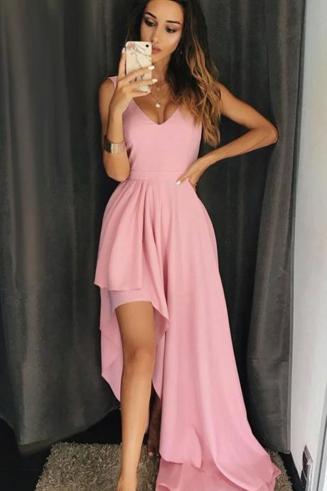 Pink V-neck Simple Prom Dresses Asymmetrical Sleeveless Vestido De Fiesta Party Evening Gowns Chiffon Summer Beach