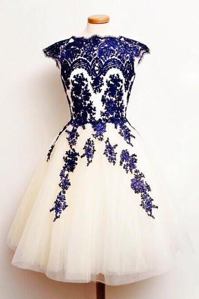 Tea Length Ivory Tulle Homecoming Dress, Cap Sleeves Royal Blue Appliques Party Dress