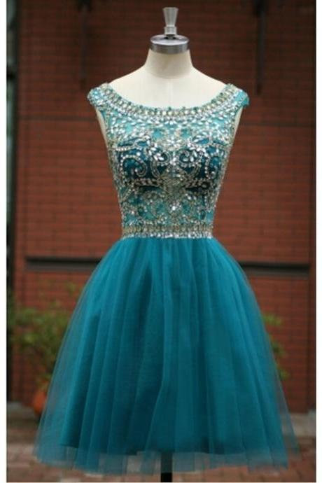 Knee Length Women Tulle Prom Dress Scoop neck beaded Party Dress