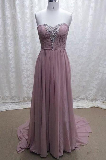 Women's Long Pale Mauve Chiffon Prom Dress Strapless Beaded Women Party Dress