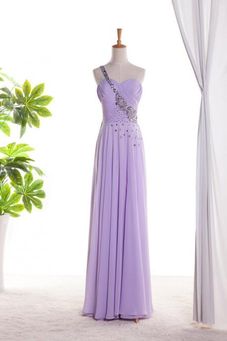 Light Purple Long Chiffon Prom Dresses One Shoulder Beaded Women Party Dress
