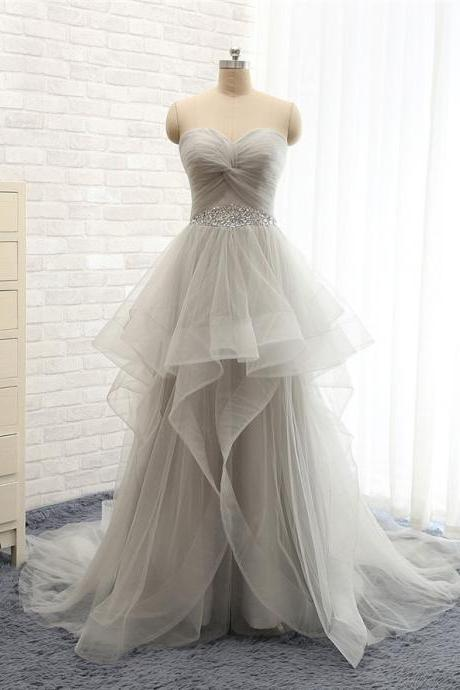 Tiered Grey Tulle Women Prom Dress Strapless A-line Tiered Women Party Dress