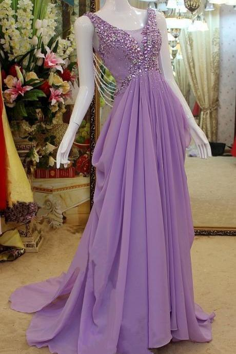 Purple Chiffon Evening Dress with Crystals Floor Length Party Dresses