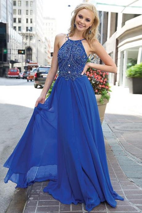 Royal Blue Chiffon Prom Dress Spaghetti Straps Beaded Long Women Party Dress MD052401