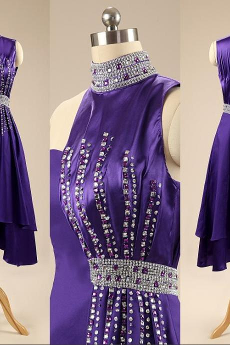 Women's Dark Purple Satin Prom Dress Halter Neck Beaded Women Party Dress
