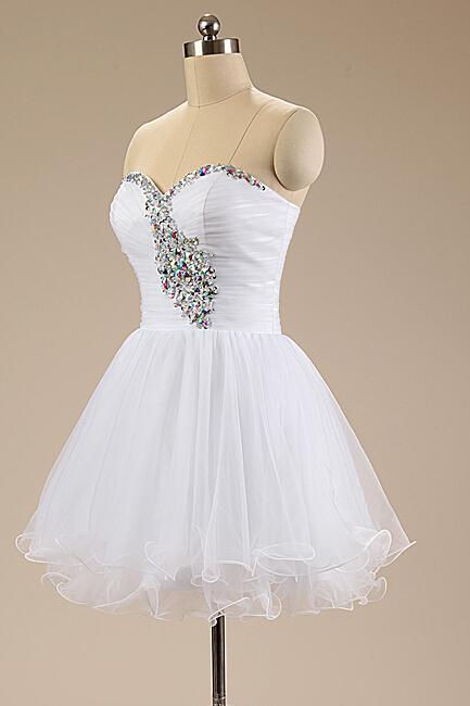 Women's Tulle White Prom Dress Sweetheart Above Knee Mini Dress AF060624