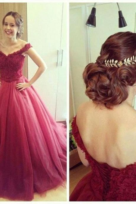 Women's Long Tulle Prom Dresses Off the Shoulder Party Dresses Floor Length Dresses