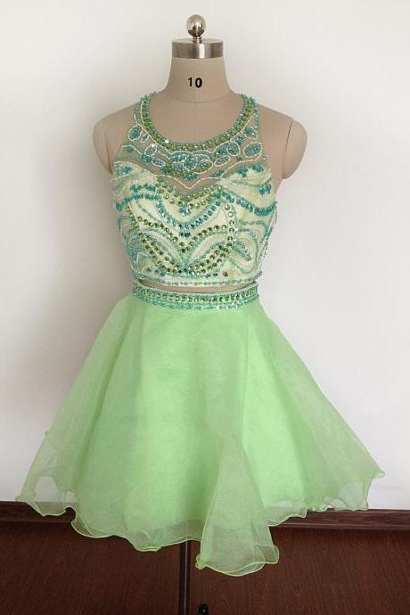 Lovely Short green Organza Cocktail Dress, Party Dresses, Homecoming Dress
