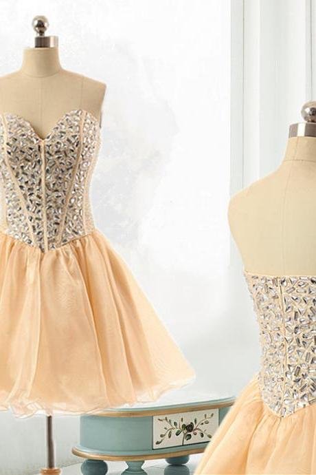 Light Yellow Short Tulle Prom Dress Strapless Above Knee Crystals Women Dress