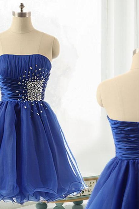 Women's Royal Blue Tulle Homecoming Dress Strapless Party Dress, Cocktail Dress