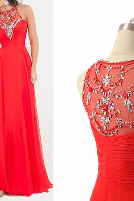 Red Chiffon Prom Dress Beaded Scoop Neck Long Women Party Dress