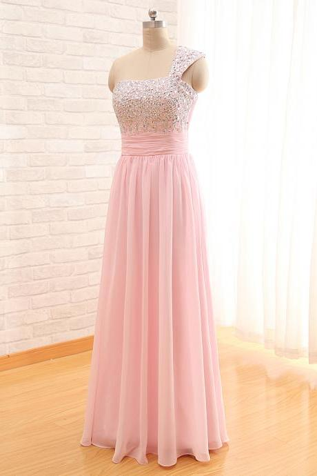 Women Long Chiffon Pink Prom Dress Floor Length Crystal beaded Party Dresses